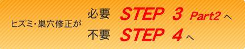 ヒズミ・巣穴修正が必要ならSTEP3Part2へ、不要ならSTEP4へ
